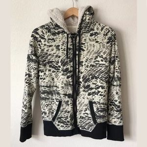 HURLEY ANIMAL PRINT SHERPA HOODED SWEATER JACKET